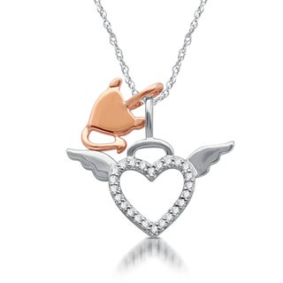 1/10 CTTW Diamond Two Tone Angel and Devil Heart Pendant In Sterling Silver (I-J, I3 )