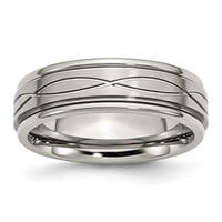 Stainless Steel Polished/Brushed Criss-cross Design 7mm Ridged Edge Band