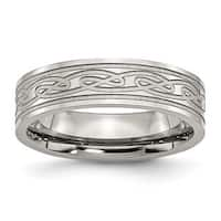 Stainless Steel Flat Laser Etched Celtic Knot 6mm Polished Band