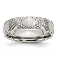 Stainless Steel Criss-cross Design 6mm Brushed and Polished Band