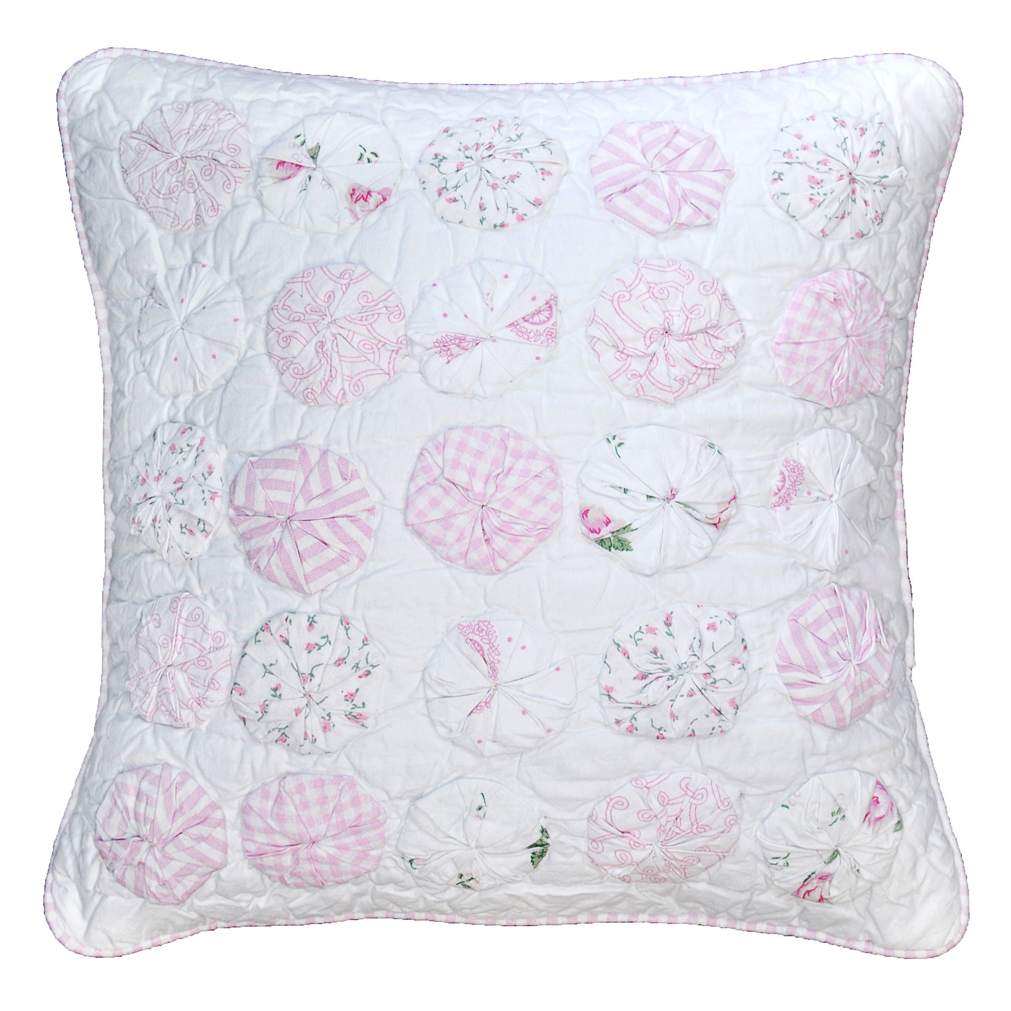 Cottage Home Yo Yo Pink Cotton Sham (Standard Sham)