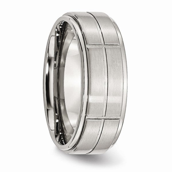 Bridal Stainless Steel Grooved 8mm Brushed//Polished Ridged Edge Band