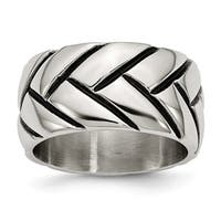 Stainless Steel Polished Braided Design Ring