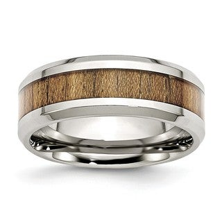 Stainless Steel Polished Wood Inlay Enameled 8.00mm Ring (More options available)