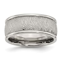 Stainless Steel Polished 9mm Textured Rounded Edge Ring