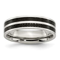Stainless Steel 6mm Double Row Black Carbon Fiber Inlay Polished Band