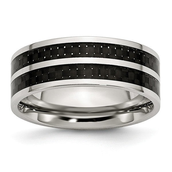 Stainless Steel Wedding Band Ring Polished Black Carbon Fiber 8 mm Black//Inlay Ring