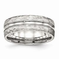 Stainless Steel Polished Hammered and Grooved 7.50mm Band