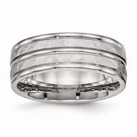 Stainless Steel Polished Hammered and Grooved 8.00mm Band