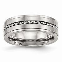 Stainless Steel Brushed and Polished Twisted 7.00mm Band