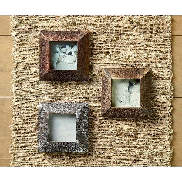 Shop Set Of 3 Beveled Wood 3x3 Picture Frames On Sale Free