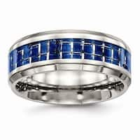 Stainless Steel Polished Blue And White Carbon Fiber Inlay Ring