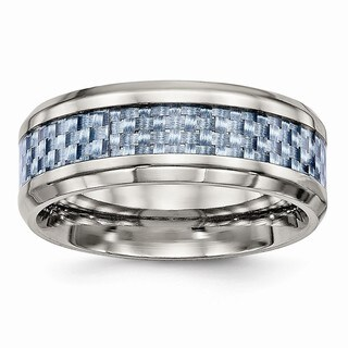 Stainless Steel Polished Blue Carbon Fiber Inlay Ring