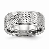 Stainless Steel Polish and Brushed Center Ridged Edge Diamond Cut Ring