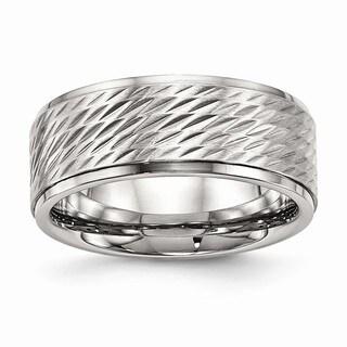 Stainless Steel Polish and Brushed Center Ridged Edge Diamond Cut Ring