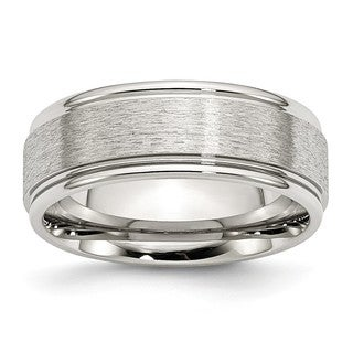 Stainless Steel Grooved Edge 8mm Brushed and Polished Band