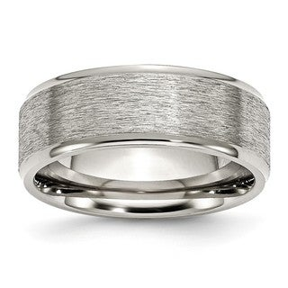 Stainless Steel Ridged Edge 8mm Brushed and Polished Band (Option: 13.5)