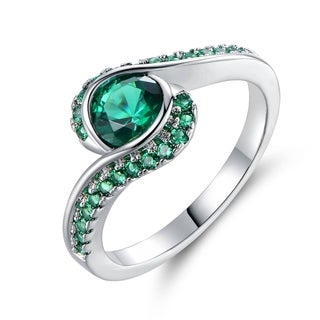 Rhodium Plated Lab-Created Emerald Quartz Bypass Ring