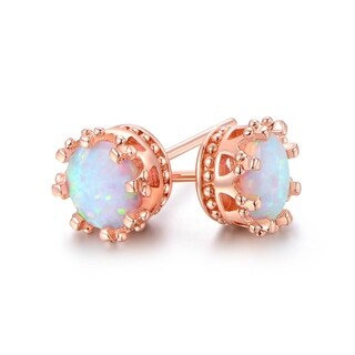 Gold Plated 7mm Opal Crown Stud Earrings