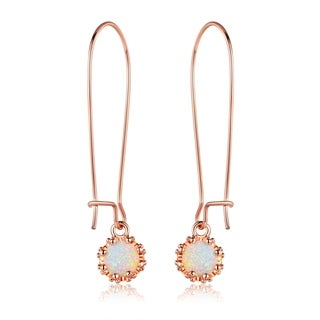 Gold Plated Rose Fire Opal Crown Dangling Earrings