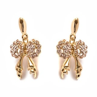 Gold Plated and Pink Crystal Bow Drop Earrings