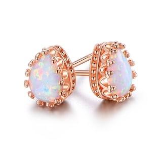 Rose Gold Plated White Fire Opal Teardrop Crown Stud Earrings