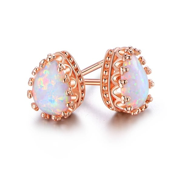 Rose Gold Plated White Fire Opal Teardrop Crown Stud Earrings