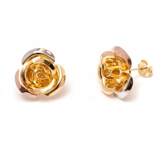 Gold Plated Gold and Silver Flower Stud Earrings