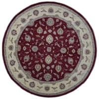 FineRugCollection Peshawar Oriental Red/Beige Wool Handmade Round Rug (10' x 10')