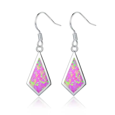 Gold Plated Lab Created Pink Opal Drop Earrings