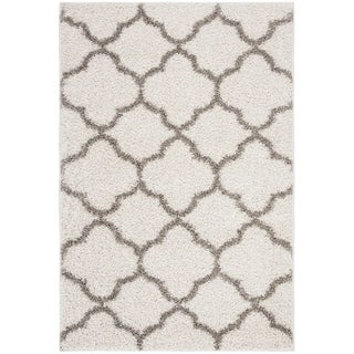 Safavieh New York Shag Contemporary Geometric Ivory/ Grey Area Rug (5'1 x 7'6)