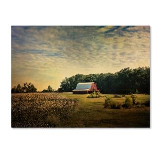 Jai Johnson 'Red Barn At The Cotton Field' Canvas Art