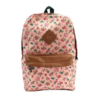 Alfa Bags Light Pink Floral Print Cotton Backpack