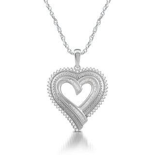 1/2 CTTW Diamond Triple Row Heart pendant in Sterling Silver (I-J, I3 )