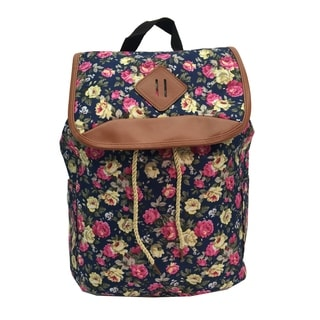 Alfa Bags Blue Floral Print Drawstring Cotton Backpack