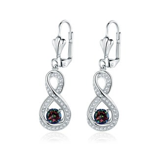 Gold Plated Diamond Accent & Mystic Topaz Infinity Drop Earrings