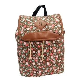 Alfa Bags Brown Floral Print Drawstring Cotton Backpack