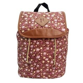 Alfa Bags Pink Floral Print Drawstring Cotton Backpack