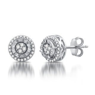 1/4 CTTW Diamond Round Stud PlusEarrings In Sterling Silver (I-J, I3)