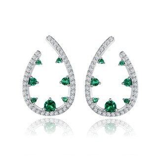 Gold Plated Green Colored Quartz Teardrop Earrings