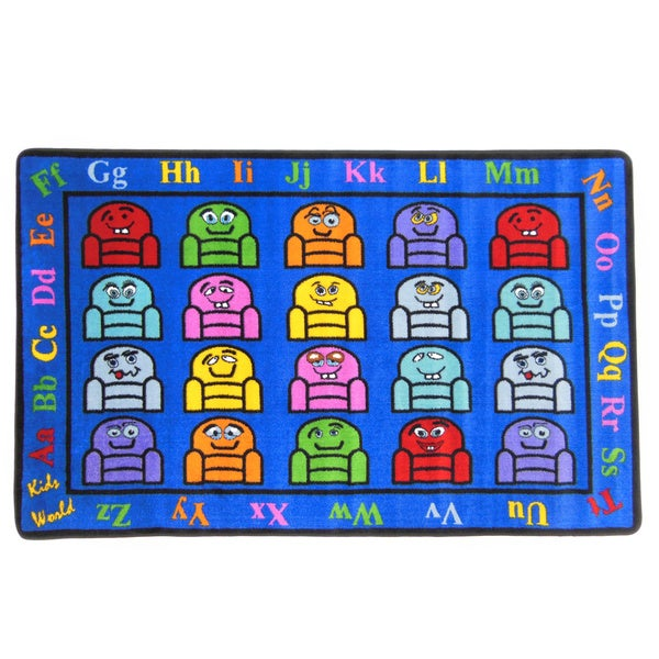 Silly Seats Children's Tufted Nylon Educational Play Area Rug - 5' x 8'