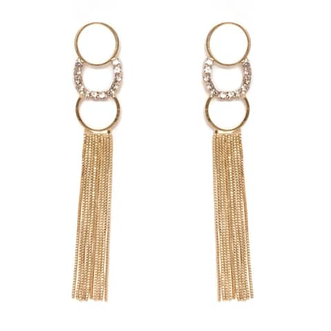 Gold Plated and Elements Dangling Earrings