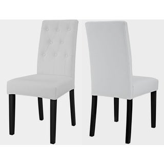 Denver Button-Tufted White Parson Dining Chair