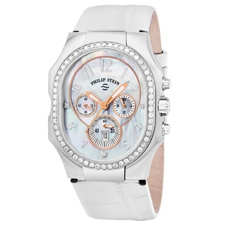 Philip Stein Women's 23DD-FMOP-AW 'Signature' Mother of Pearl Diamond Dial White Leather Strap Chronograph Swiss Quartz Watch