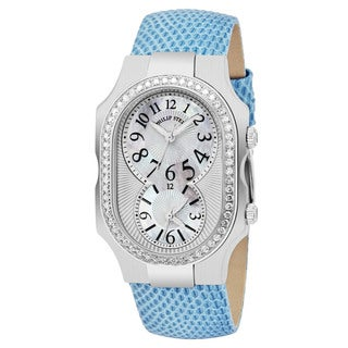 Philip Stein Women's 2D-NFMOP-ZBL 'Signature' Mother of Pearl Dial Blue Leather Strap Dual Time Swiss quartz Watch