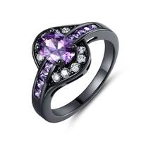 Black Rhodium Plated Purple and White Cubic Zirconia Ring