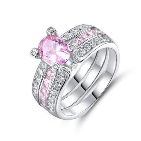 Gold Plated Pink Cubic Zirconia Interchangeable Ring Set