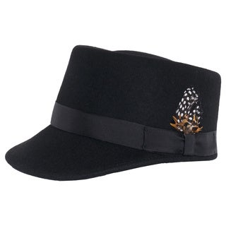Ferrecci Modern Conductor Train Engineer Hat with Feather