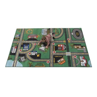 Our Town Green Tufted Nylon Children's Play Area Rug (4' x 6')