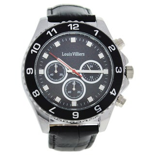 Louis Villiers LVAG5877-4 Black/Silver Men's Leather Strap Watch